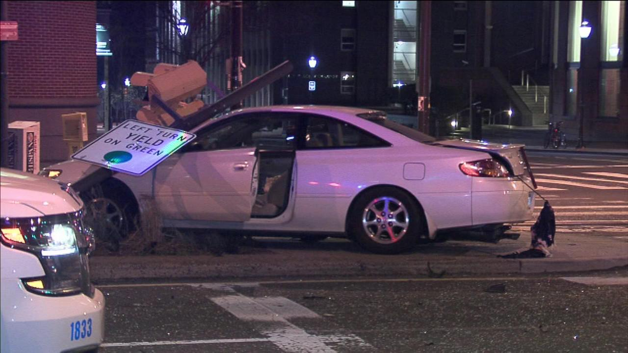 Multiple people, including pedestrians, were hurt after this crash in West Philadelphia.