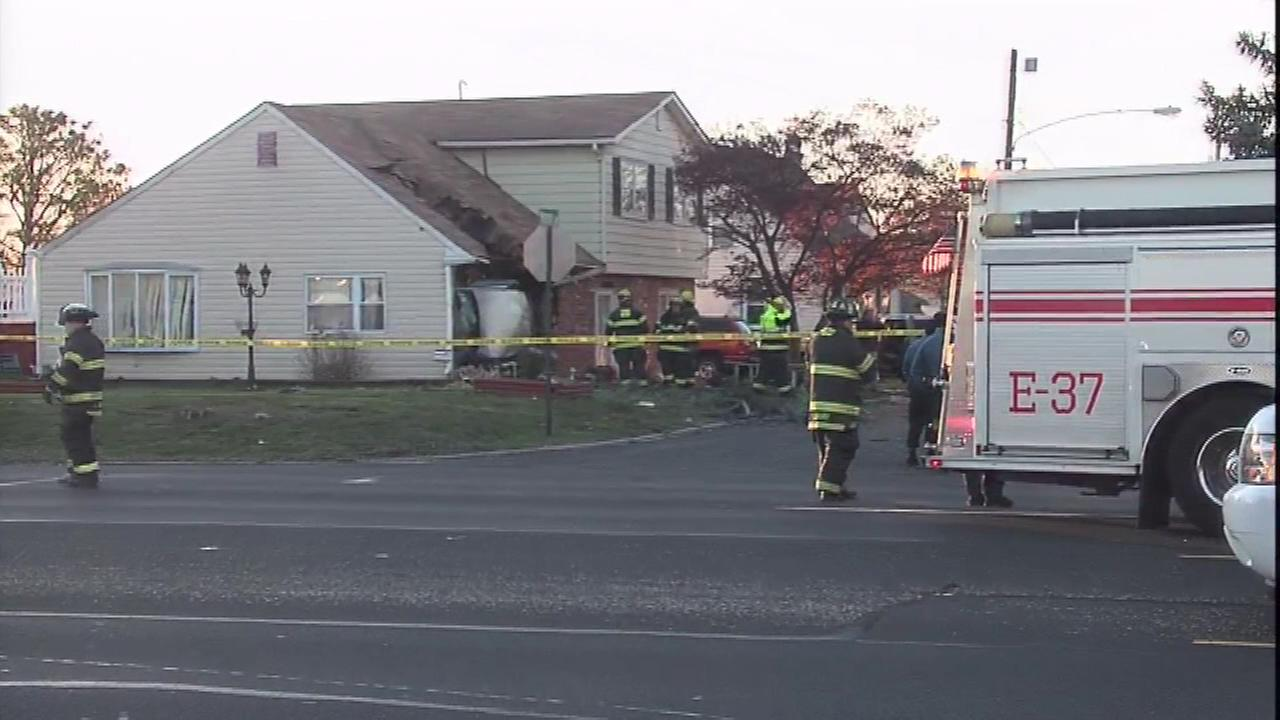 A driver lost control of a vehicle and slammed into a home in Bensalem, Bucks County.