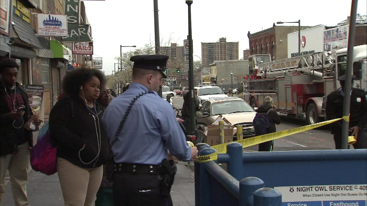 Pictured: The scene after a woman was struck and killed on the Market Frankford Line in West Philadelphia.