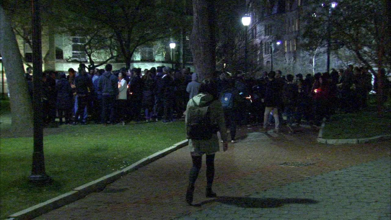 Students held a vigil on campus for University of Pennsylvania student Ao Olivia Kong.