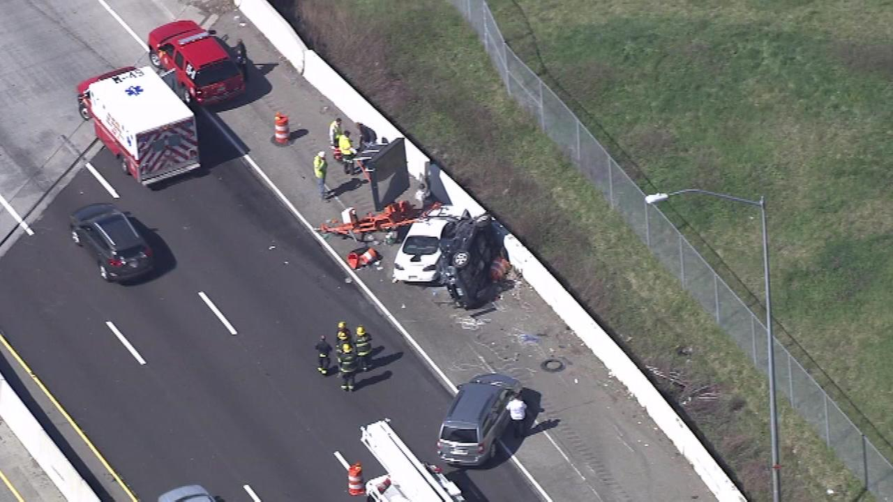 Chopper 6 was over the scene of where two cars crashed into a construction sign along I-95 near Academy Road on Thursday.