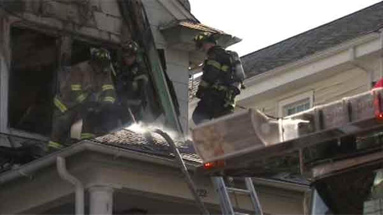 Fire crews battled a two-alarm house fire in Delaware County.