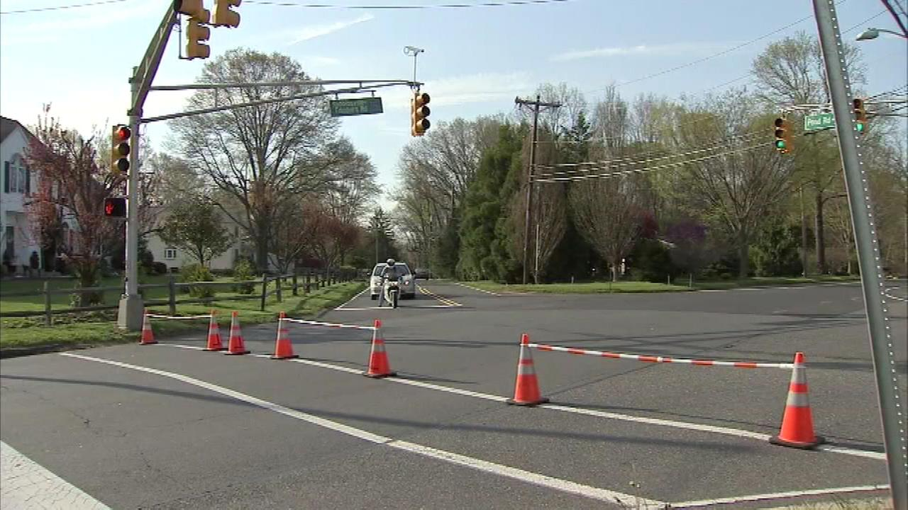 Pictured: The scene where the Robbinsville schools superintendent Steven Mayer was struck and killed on Tuesday, April 19th.