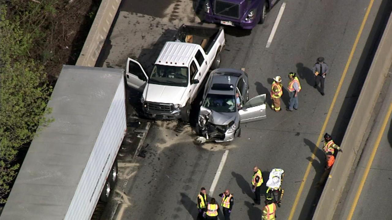 Pictured: A multi-vehicle crash on the Schuylkill Expressway on Tuesday, April 19th.
