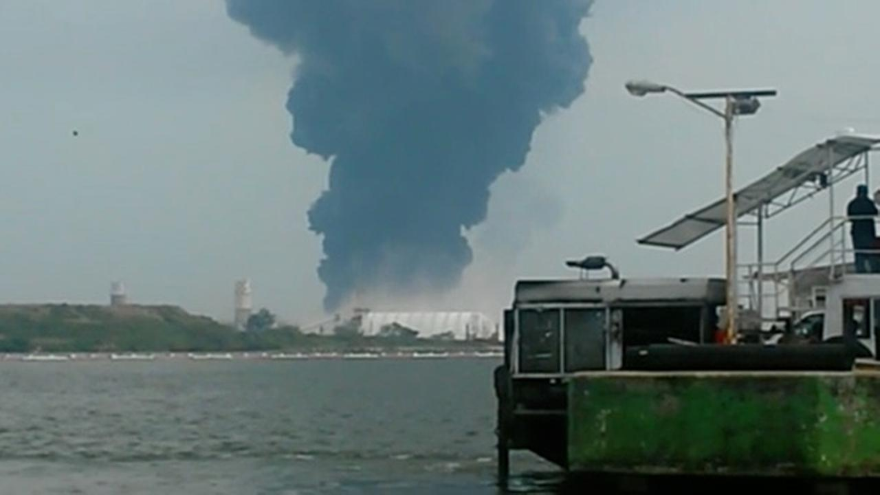 In this video grab a large plume of smoke rises from the Mexican State oil company Petroleos Mexicanos petrochemical plant after an explosion in Coatzacoalcos, Mexico.