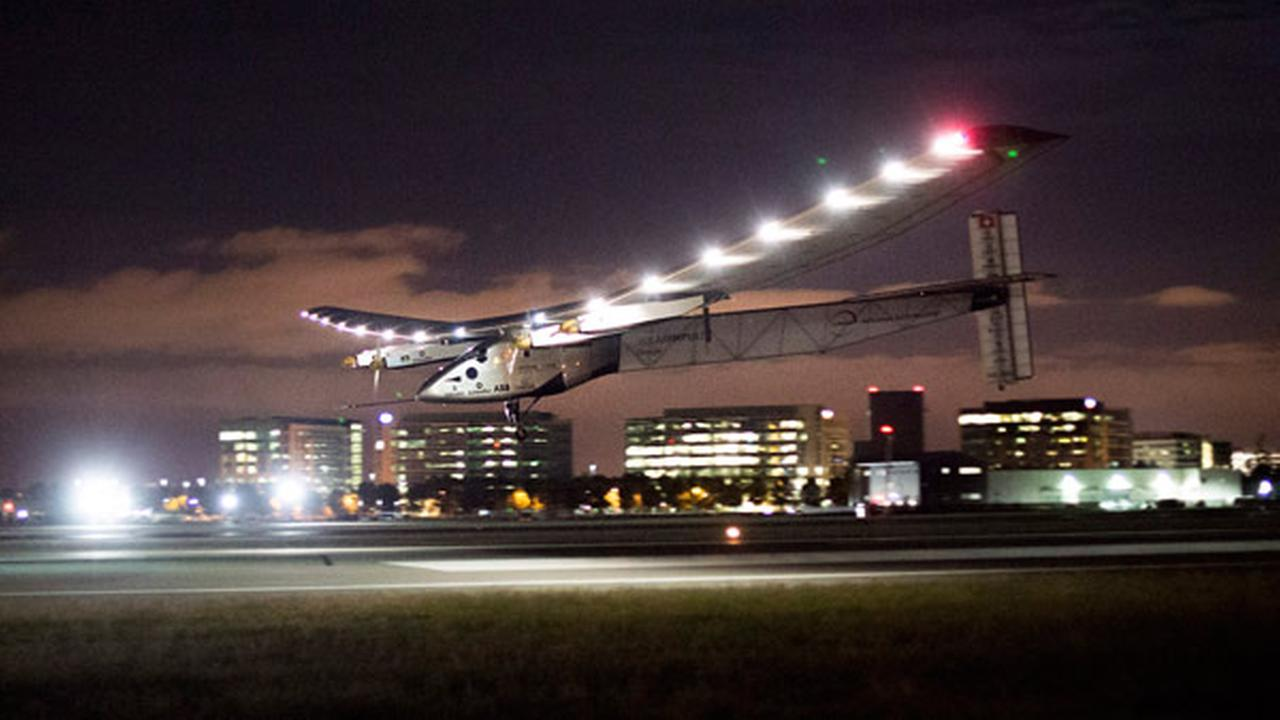 Solar Impulse 2 lands at Moffett Field in Mountain View, Calif., after crossing the Pacific Ocean on Saturday, April 23, 2016. AP Photo/Noah Berger