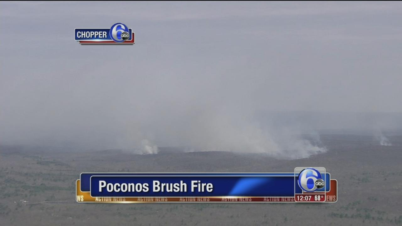 VIDEO: Brush fire burning in Poconos