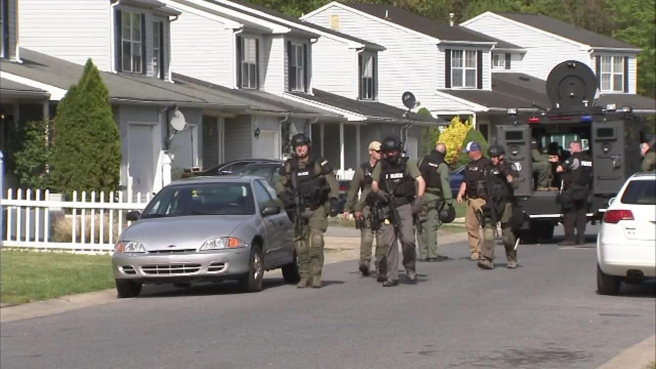 Pictured: The scene of a standoff at a murder scene in New Castle County, Delaware on Tuesday.