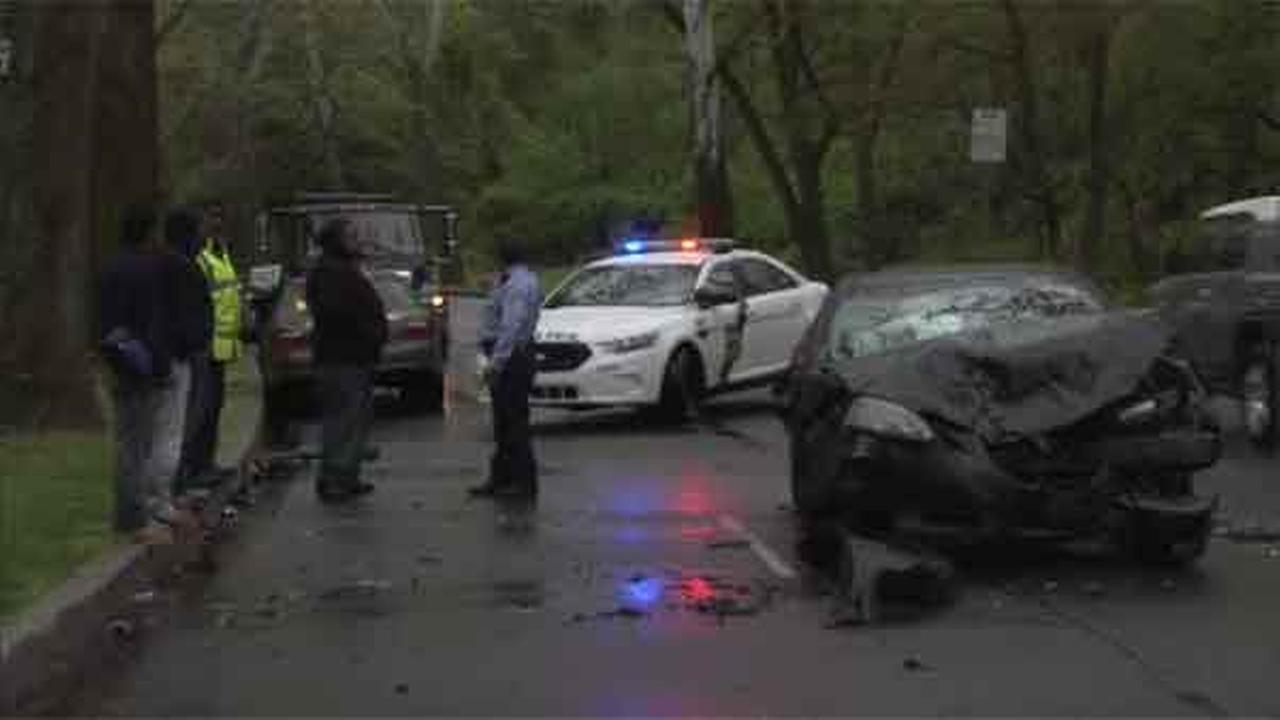 Two people are hospitalized after two vehicles collided in the Fairmount Park section of Philadelphia.