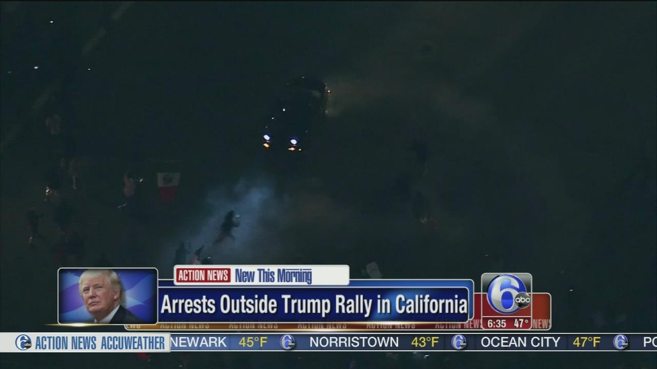 VIDEO: Violent protests outside Trump rally