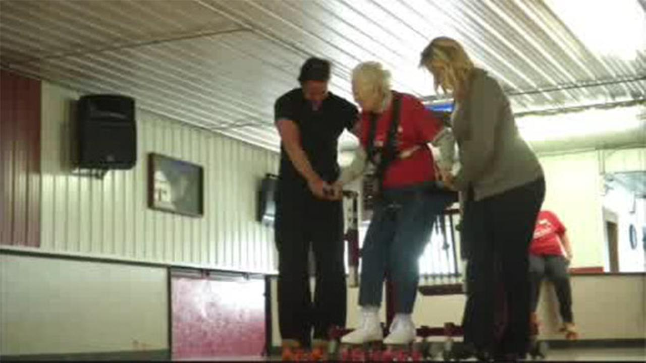 Elderly woman skates through recovery