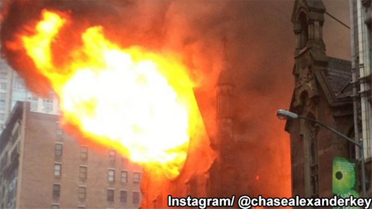 Massive flames erupt from New York City church