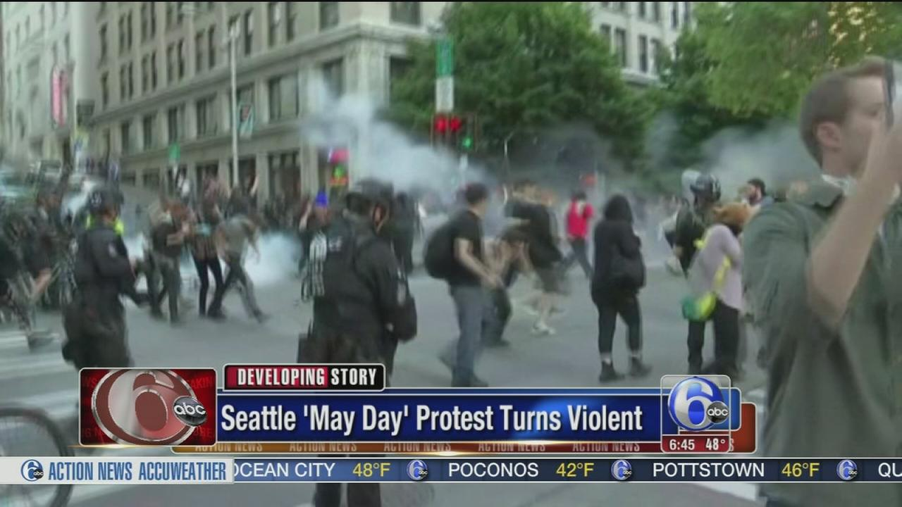 VIDEO: May Day protest turns violent