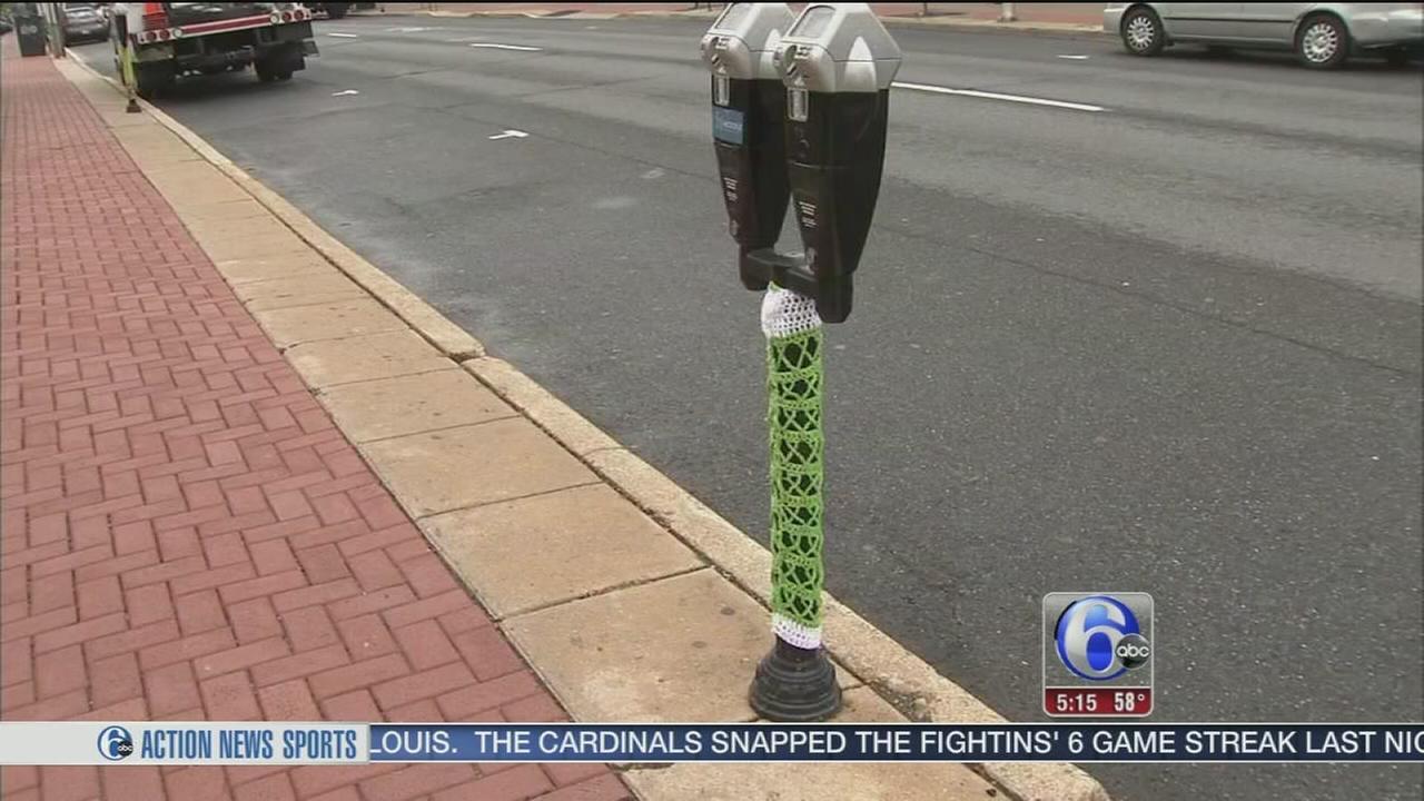 VIDEO: Parking meters get yarn bombed for Lyme disease awareness