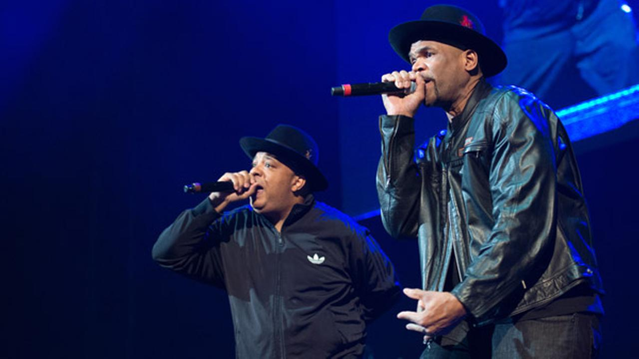 Joseph Simmons (left) and Darryl McDaniels of Run DMC perform at Christmas in Brooklyn at the Barclays Center on Friday, Dec. 19, 2014, in Brooklyn, New York.
