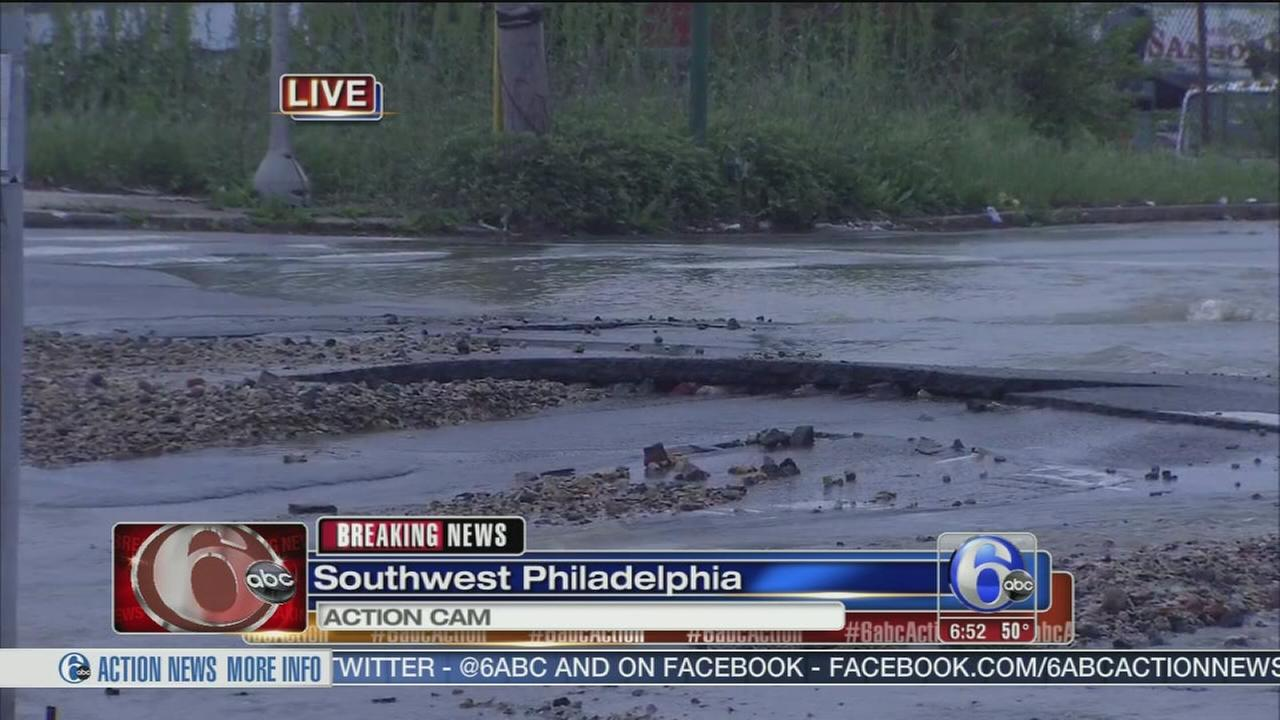 VIDEO: Water main break in SW Phila.