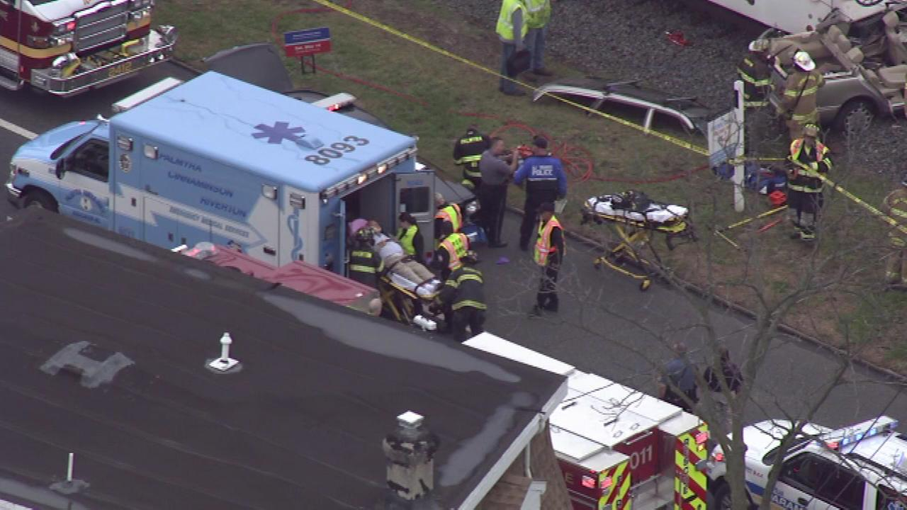 Emergency crews were called to the scene of a crash involving a train and a vehicle in Riverton, Burlington County.