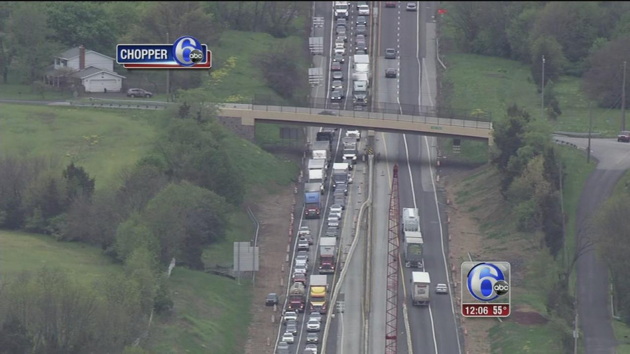 VIDEO: 2-car crash cleared on NE Extension of Pa. Turnpike