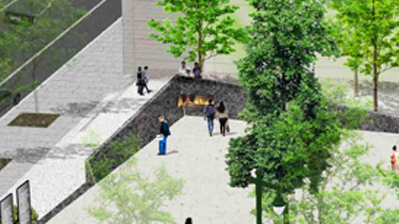 The plaza will include an eternal flame and six columns that tell the stories of those martyrs.