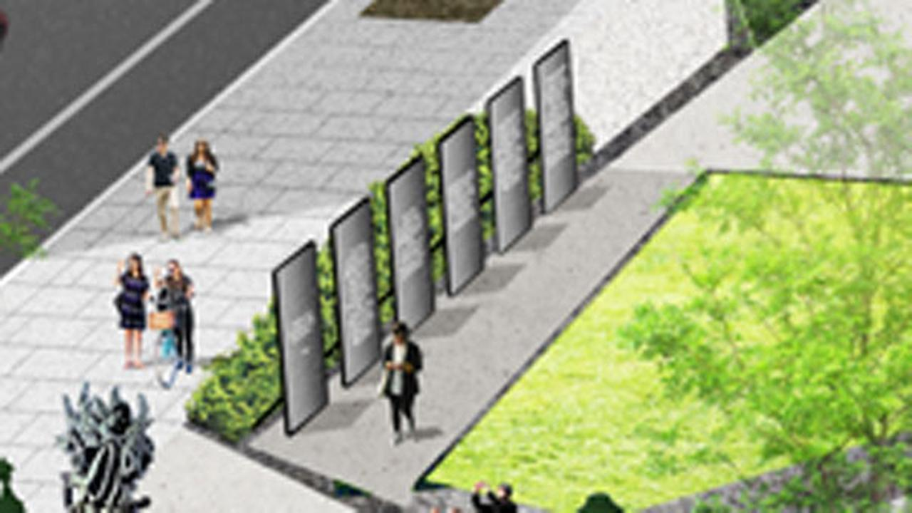 The plaza will include six columns that tell the stories of those martyrs.