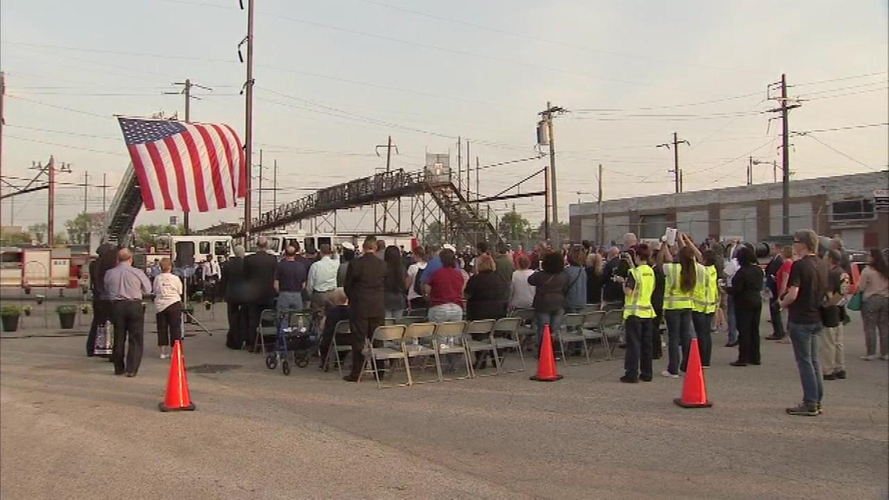 Families of the victims were joined by first responders during a memorial ceremony to honor the eight lives lost from the Amtrak train 188 derailment.