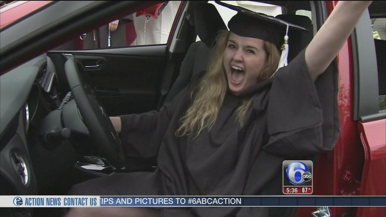 VIDEO: Rider University grad wins new car at commencement