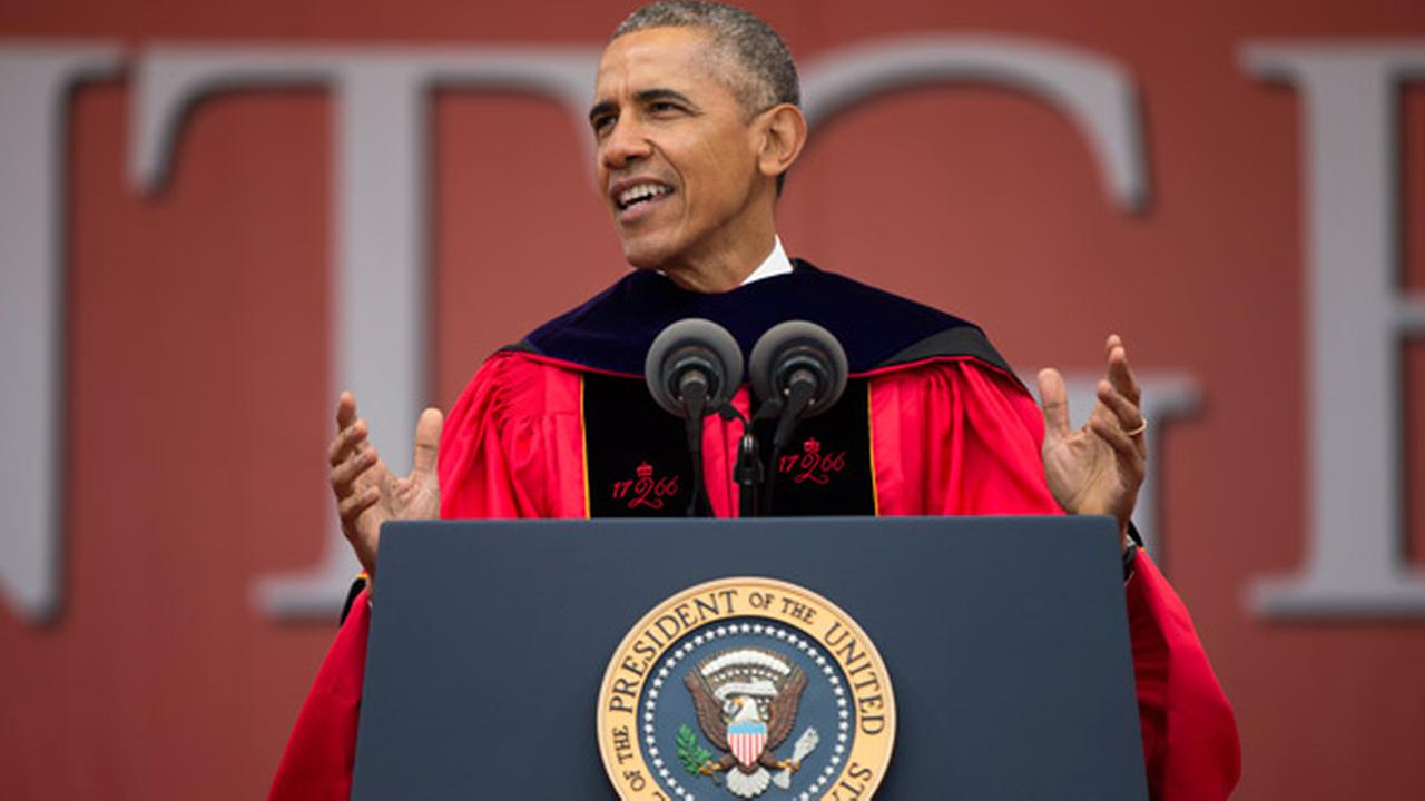 President Barack Obama speaks during Rutgers Universitys 250th Anniversary commencement ceremony, on Sunday, May 15, 2016, in New Brunswick, N.J.