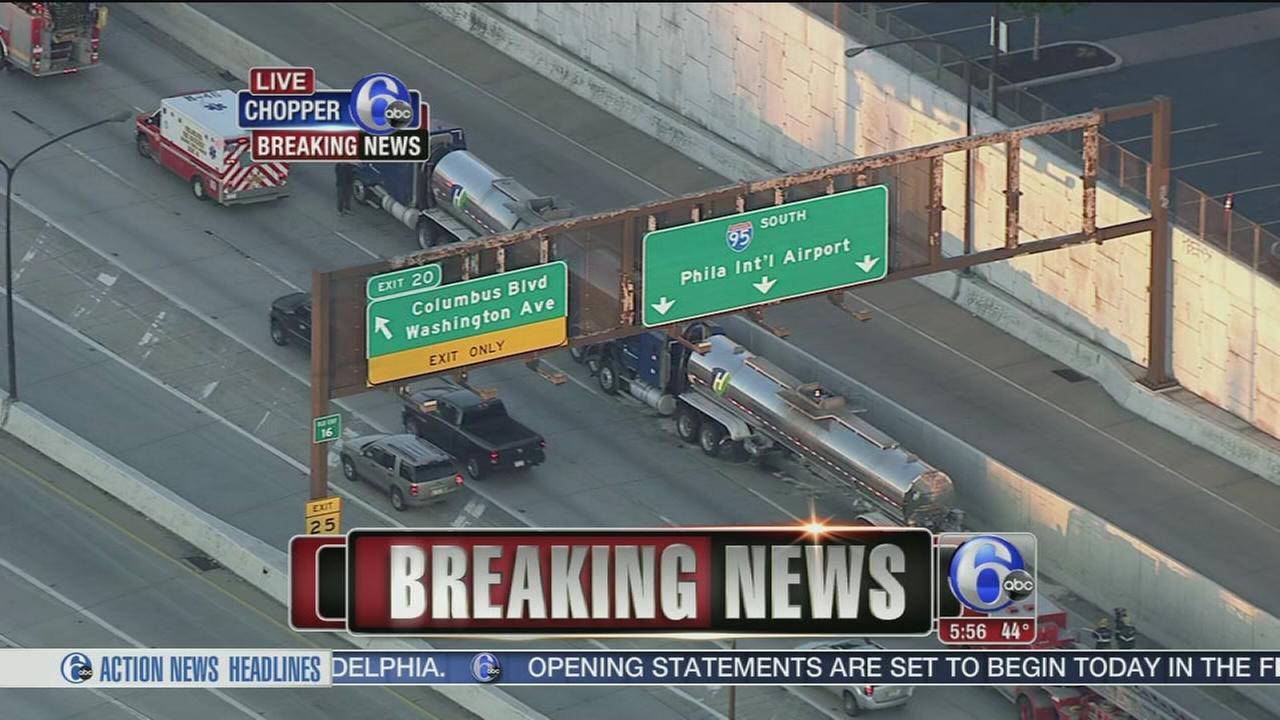 VIDEO: Tractor-trailer crash on I-95