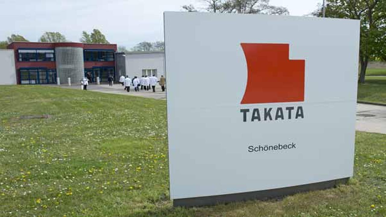 Takata Ignition Systems GmbH headquarters in Schoenebeck, Germany, Thursday, April 17, 2014.
