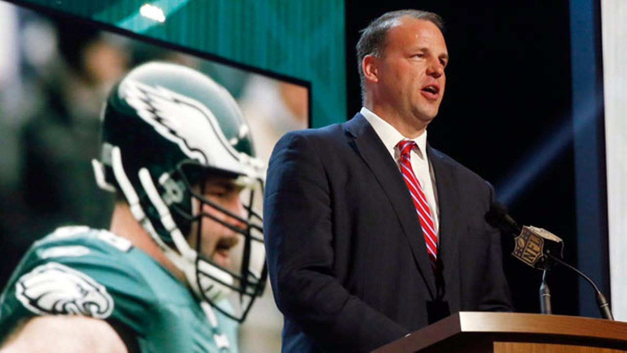 FILE - In this May 1, 2015, file photo, former NFL tackle and congressman Jon Runyan announces that the Philadelphia Eagles selects Utah defensive back Eric Rowe as the 47th pick.