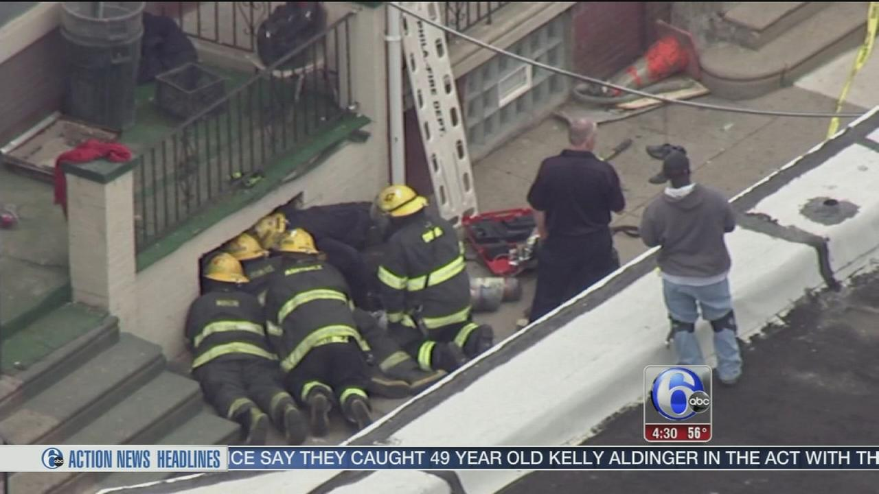 VIDEO: 3 trapped after floor collapse in West Phila. house