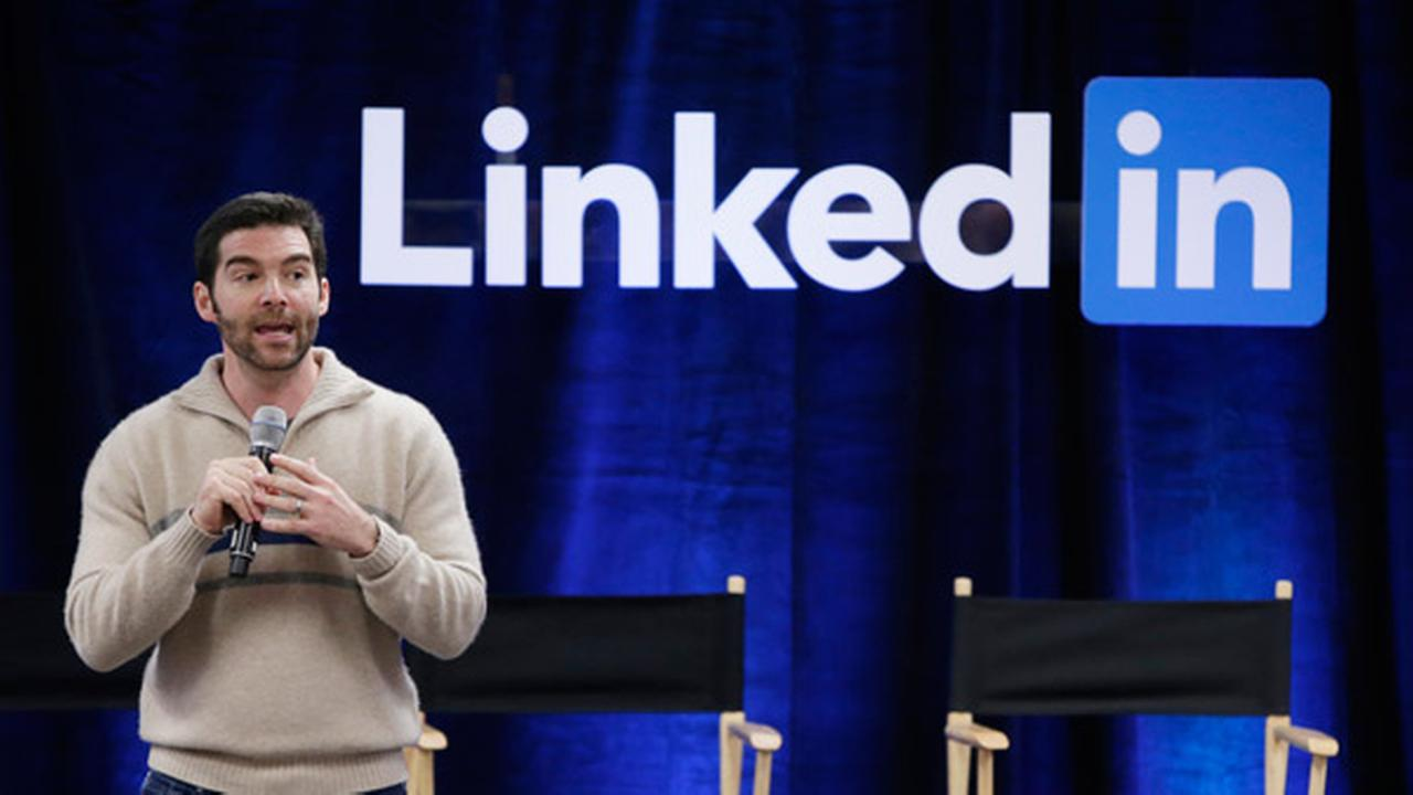 FILE - In this Nov. 6, 2014, file photo, LinkedIn CEO Jeff Weiner speaks during the companys second annual Bring In Your Parents Day, at LinkedIn headquarters in Mountain View.