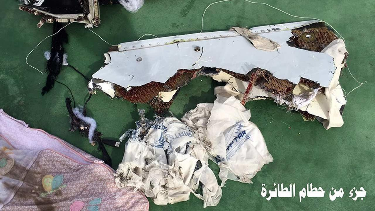 This picture posted Saturday, May 21, 2016, on the official Facebook page of the Egyptian Armed Forces spokesman shows part of the wreckage from EgyptAir flight 804.Egyptian Armed Forces