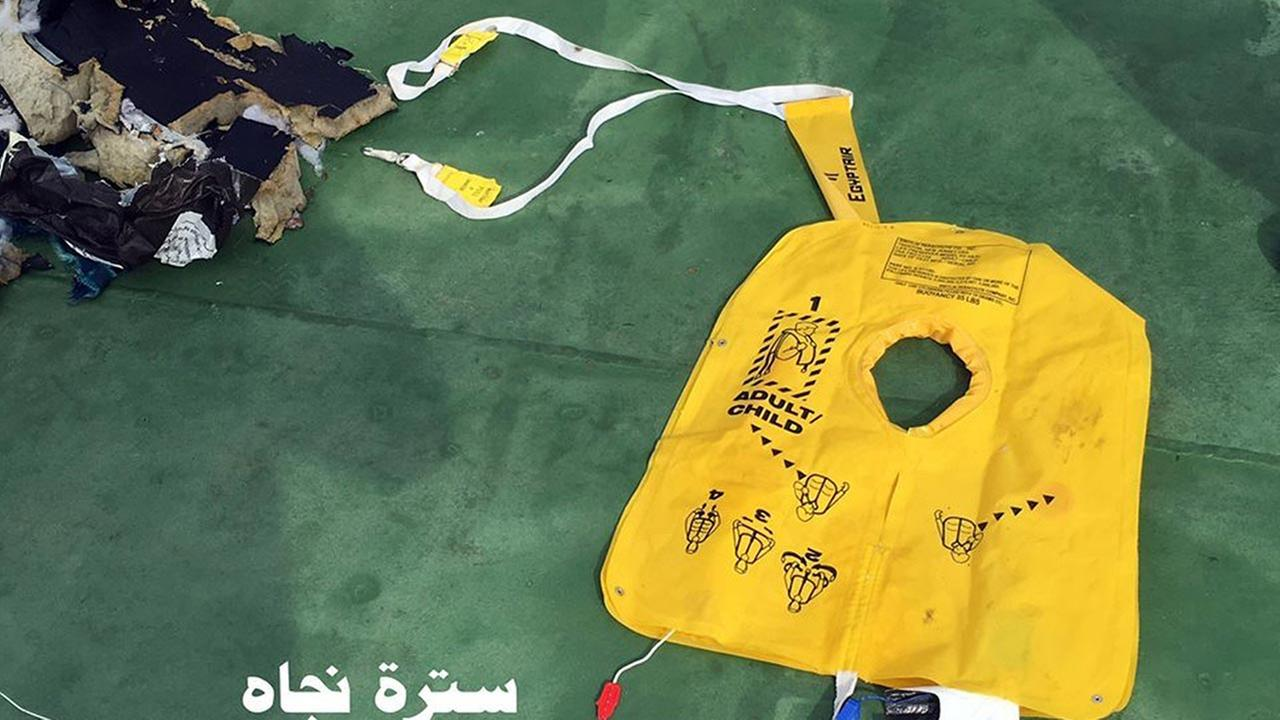 This picture posted Saturday, May 21, 2016, on the official Facebook page of the Egyptian Armed Forces spokesman shows a life vest from EgyptAir flight 804. Egyptian Armed Forces