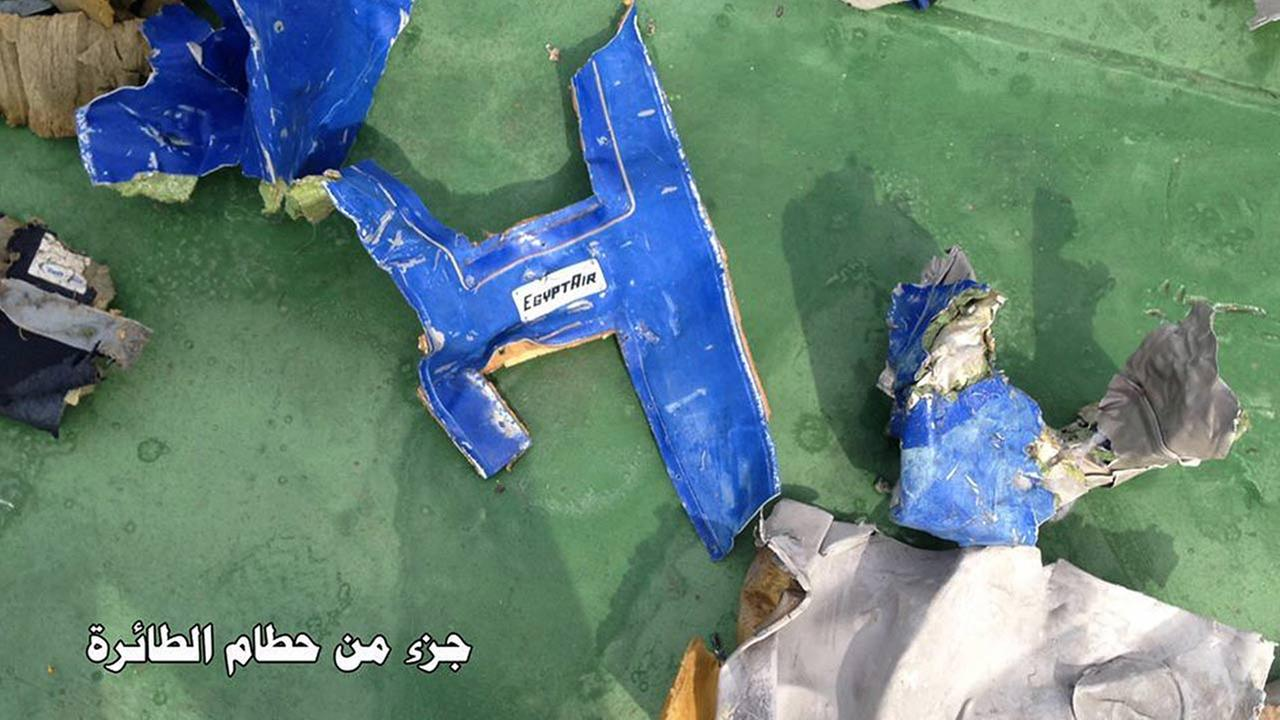 This picture posted Saturday, May 21, 2016, on the official Facebook page of the Egyptian Armed Forces spokesman shows part of the wreckage from EgyptAir flight 804. Egyptian Armed Forces