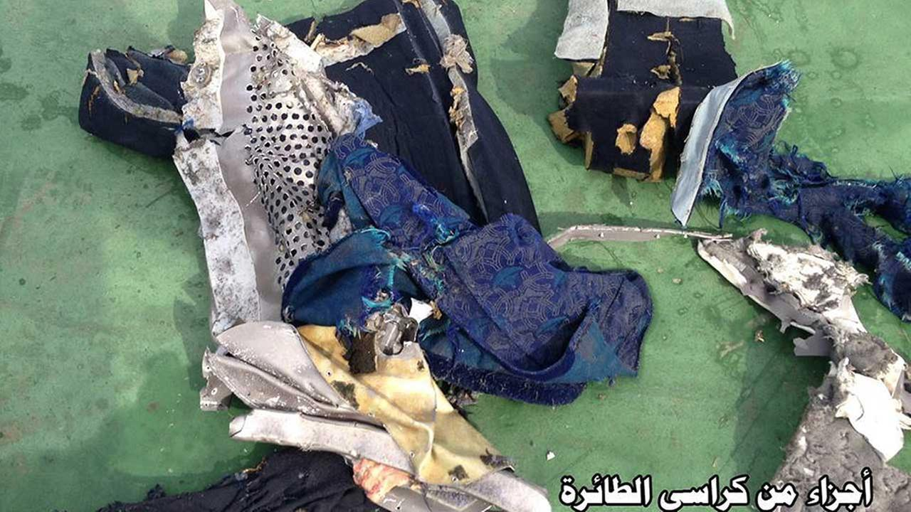 This picture posted Saturday, May 21, 2016, on the official Facebook page of the Egyptian Armed Forces spokesman shows part of a plane chair from EgyptAir flight 804. Egyptian Armed Forces