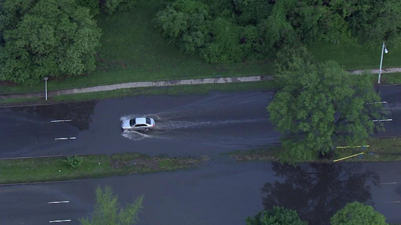 Heavy rains shut down a portion of the Roosevelt Boulevard in Northeast Philadelphia