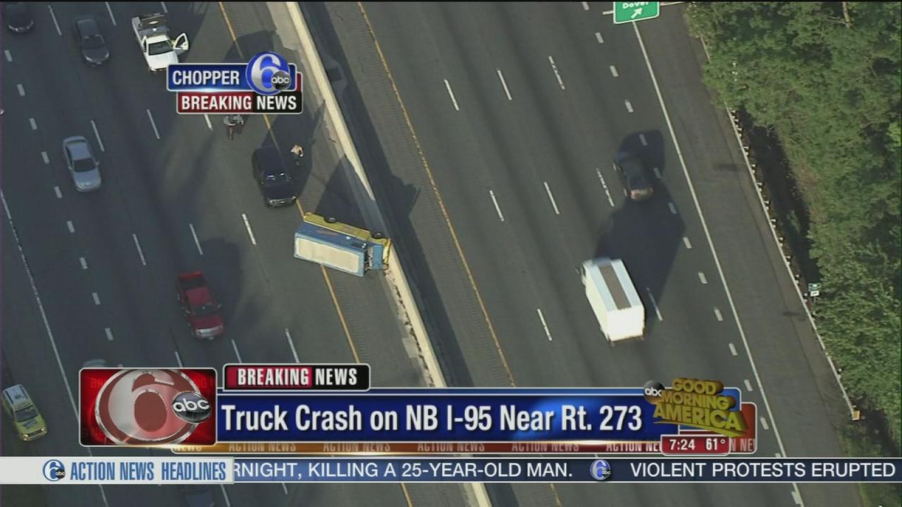 VIDEO: Truck crash jams traffic on NB I-95 near Rt. 273