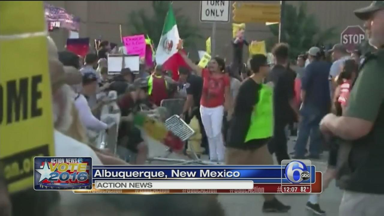 VIDEO: Anti-Trump protests turn violent outside New Mexico rally