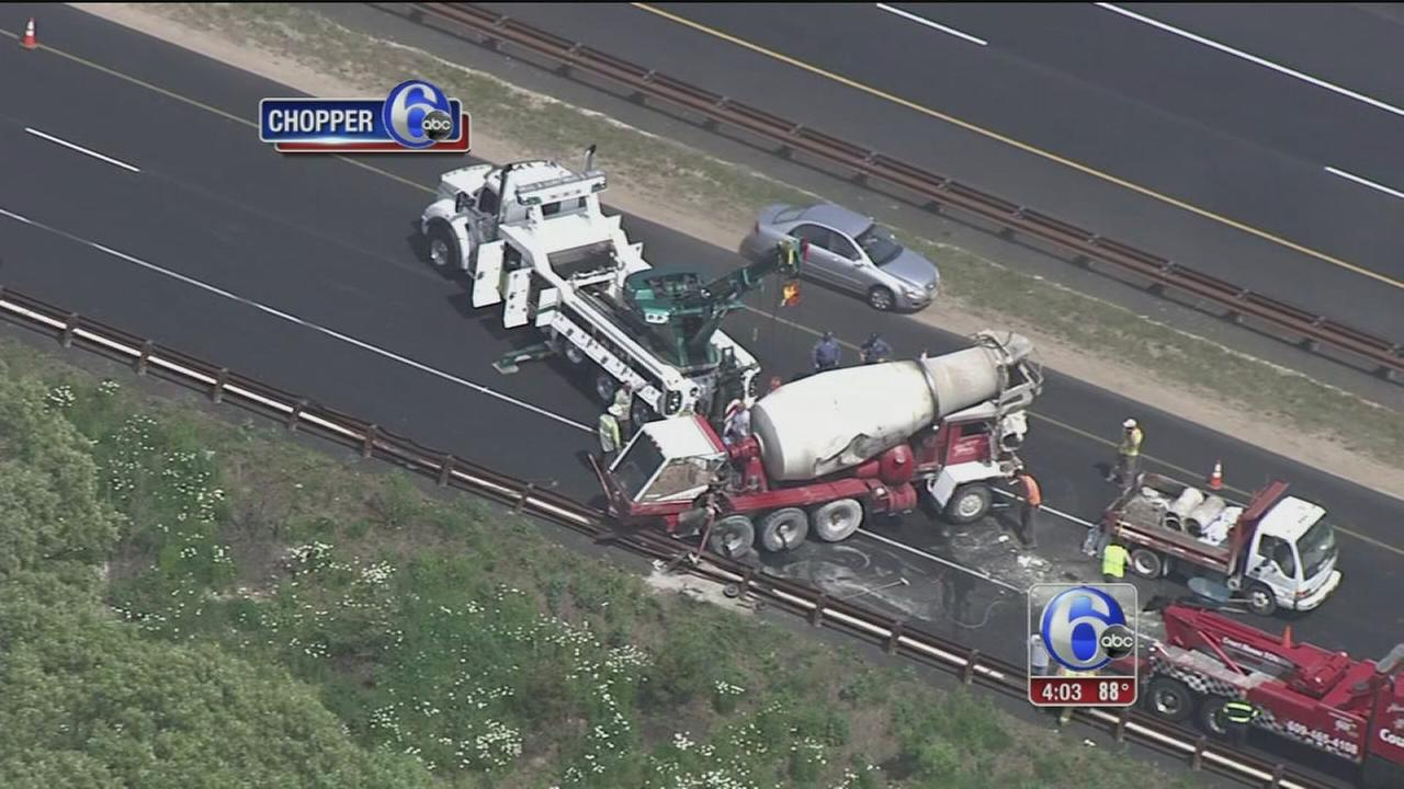 VIDEO: Cement truck flips after crash on Garden State Parkway