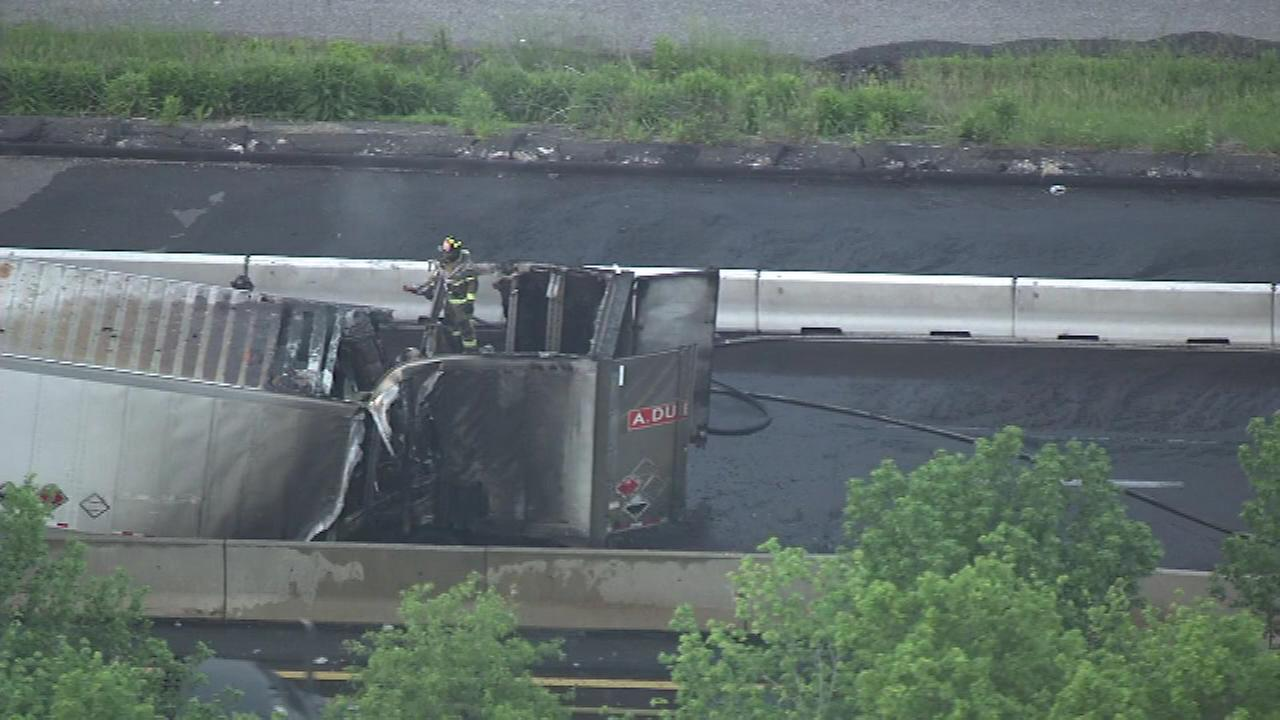 May 27, 2016: The aftermath of a tractor-trailer fire shut down eastbound traffic on the Pennsylvania Turnpike (I-276) in Levittown, Bucks County for hours.