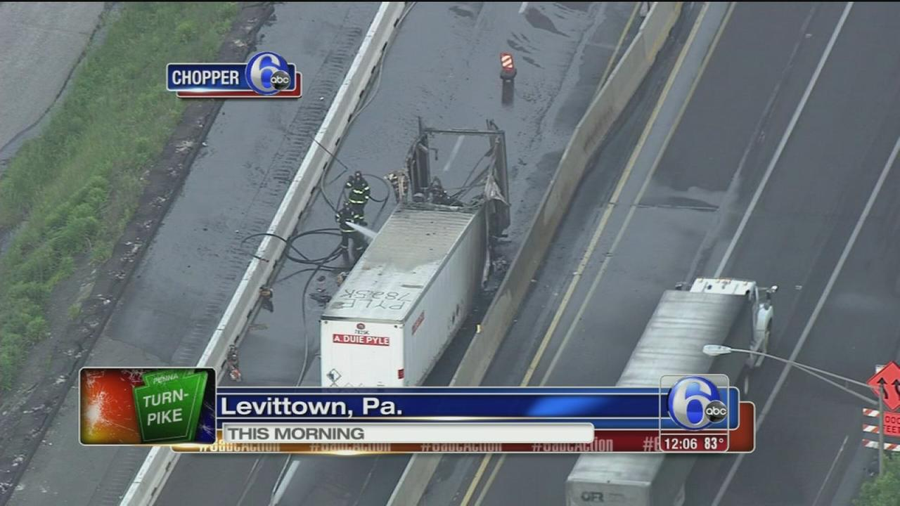 VIDEO: Tractor-trailer fire closes Pa. Tpk.