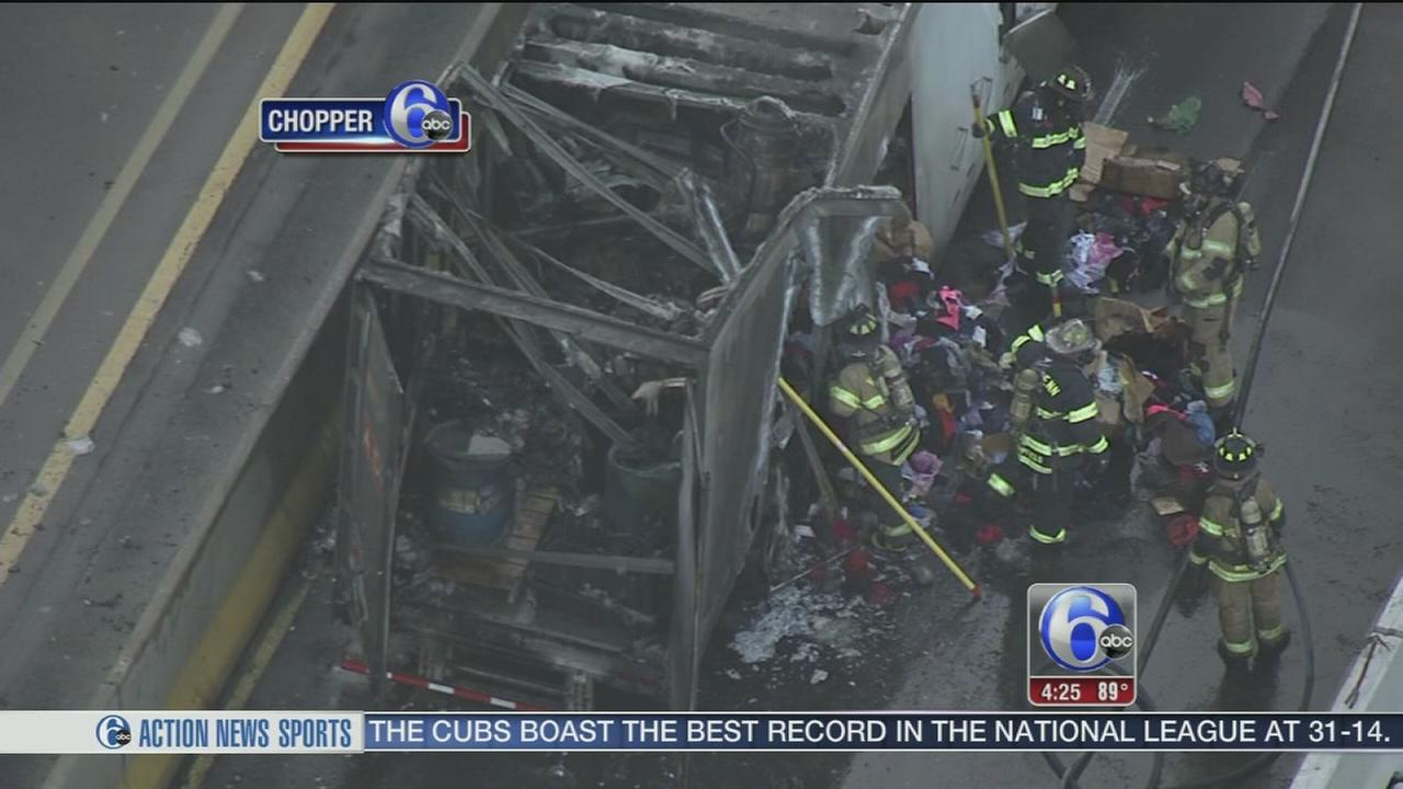 VIDEO: Pa. Turnpike back open after tractor-trailer fire