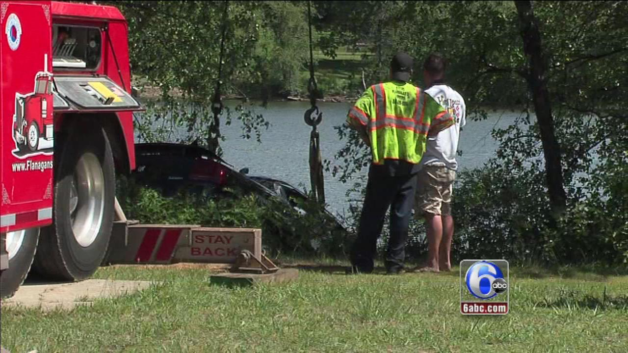 A car was pulled from the Cooper River in Pennsauken, New Jersey.