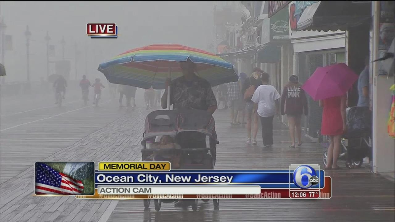 VIDEO: Some at shore refuse to let rain ruin Memorial Day