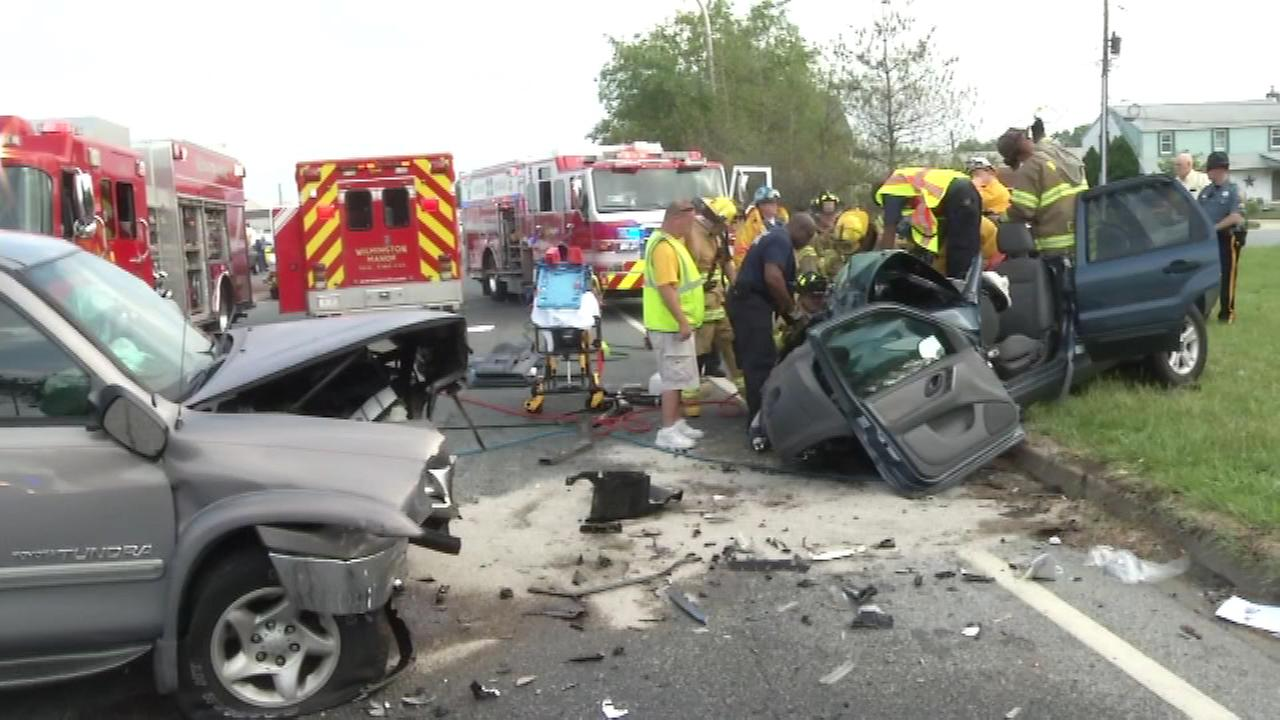 Pictured: Scene of crash on Route 141 in New Castle, Delaware.