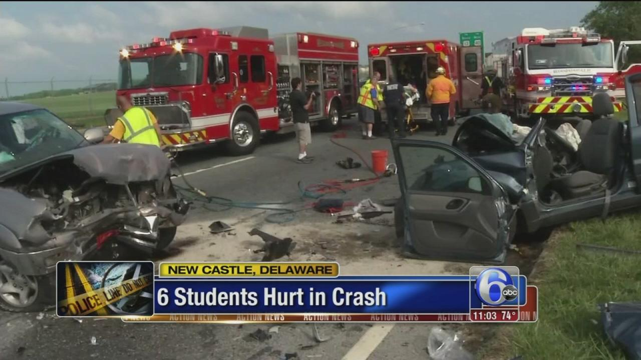 VIDEO: 6 students hurt in crash