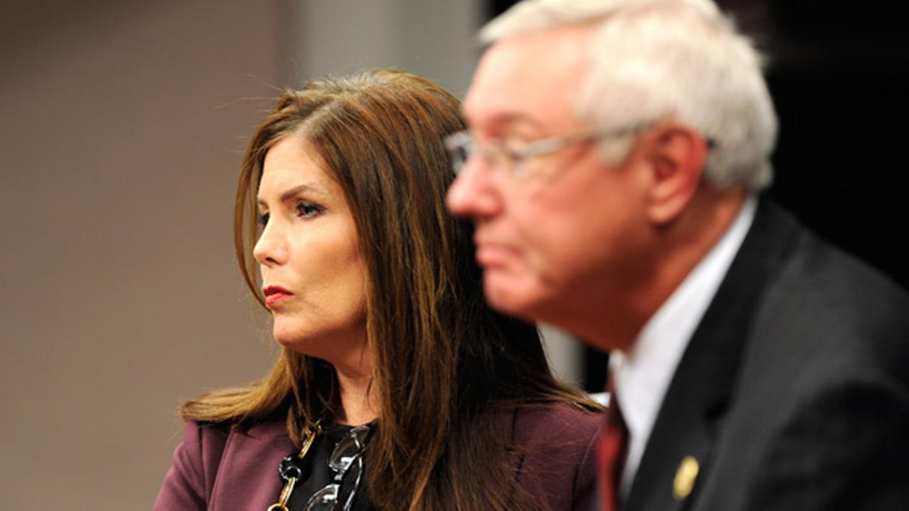 FILE - Pennsylvania Attorney General Kathlen Kane, left and Pennsylvania State Police Commissioner Frank Noonan on Thursday, March 13, 2013.