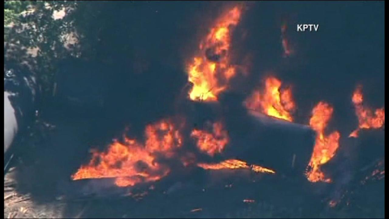 A train towing a highly volatile type of oil derailed Friday in Oregons scenic Columbia River Gorge.
