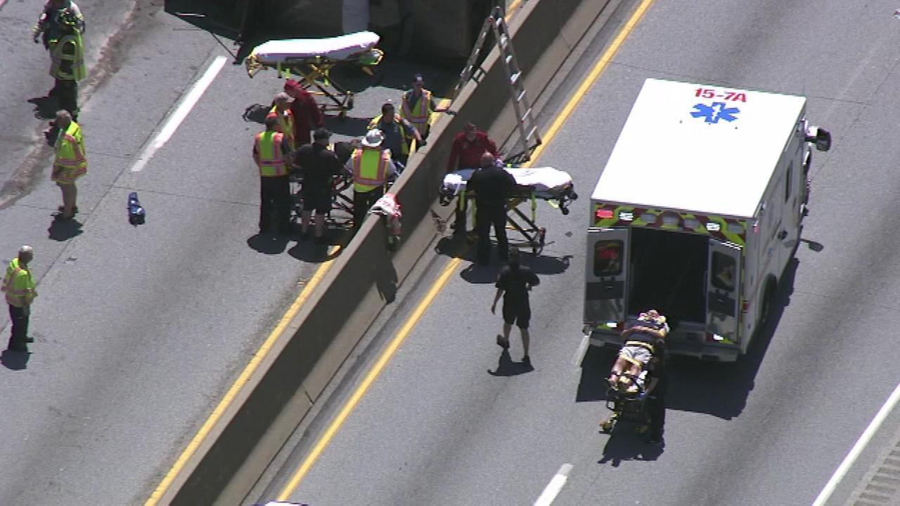 Rescuers on the scene of a multi-vehicle crash on the Schuylkill Expressway.
